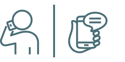 icon of automobile customer and service associate communicate through phone calls and text messages