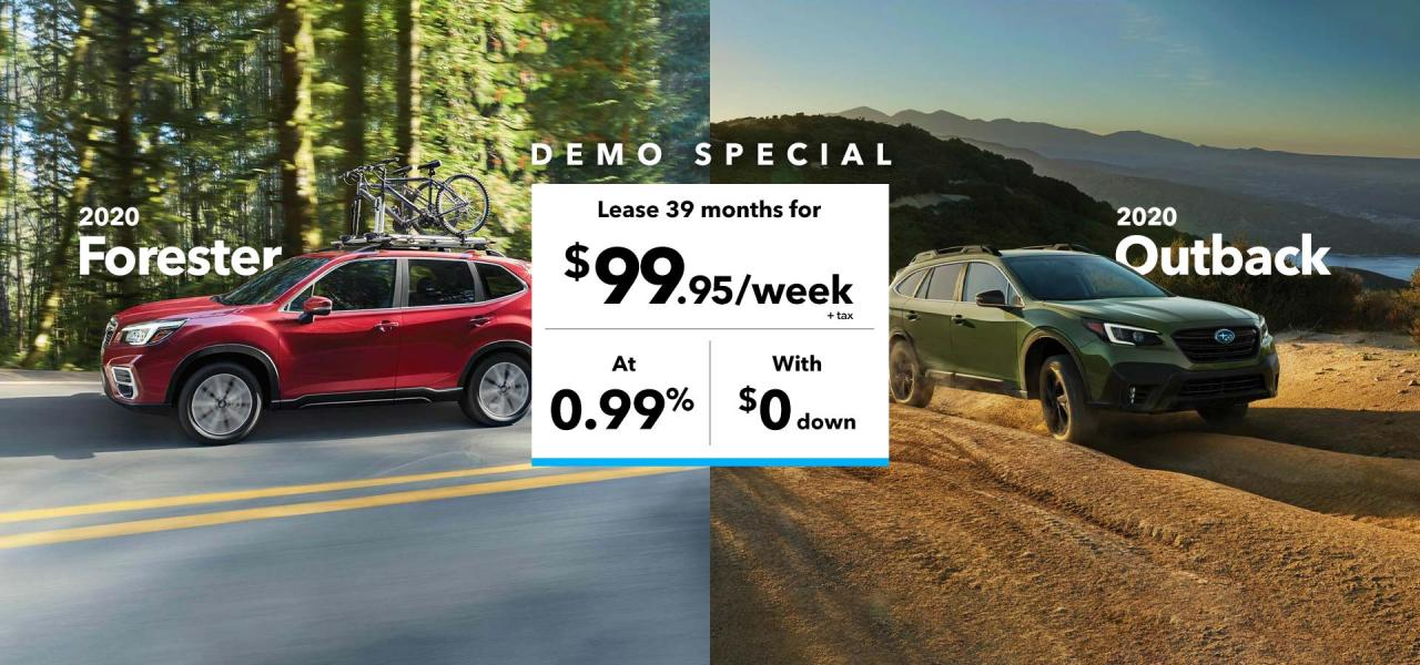 Lease 2020 Forester or Outback demo with $99.95 per week