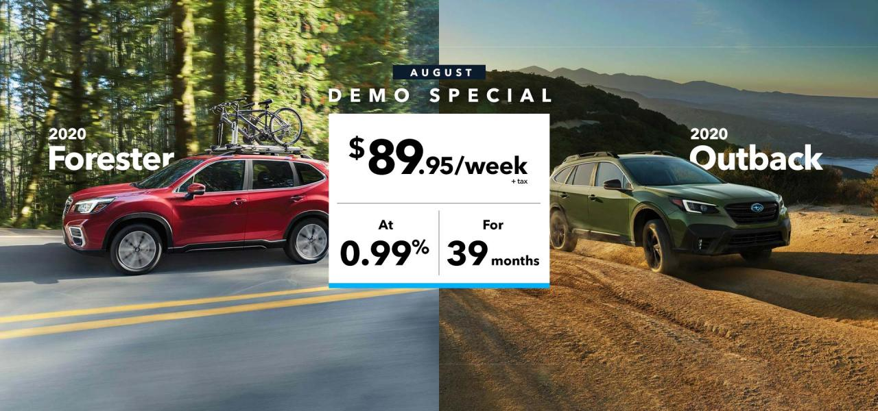 Forester & Outback demo special offer at OpenRoad Subaru Boundary